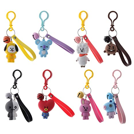 Havenport 8 Pack Kpop BTS Keychain TATA CHIMMY Cooky RJ MANG KOYA SHOOKY Bangtan Boys Key Ring with Bell Pendant (Style 2)