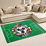 Naanle Sport Area Rug 3'x5', Soccer Field with the Ball and Flags Polyester Area Rug Mat for Living Dining Dorm Room Bedroom Home Decorative