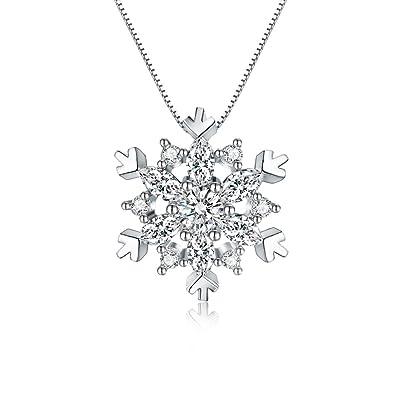 ラッピングセット 雪の結晶 真実の愛 プラチナコーティング技術採用 925純銀製 より強い光沢 AAA級ジルコニア使用 ネックレス クリスマスギフト用  ラッピングセット Ange De Neige