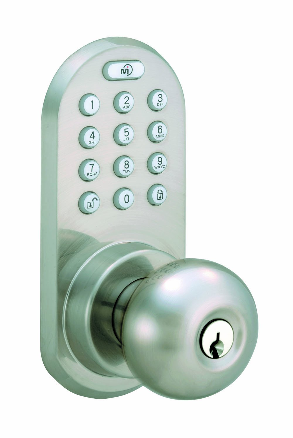 MORNING INDUSTRY INC QKK-01SN 3-In-1 Remote Control & Touchpad Doorknob, Satin Nickel