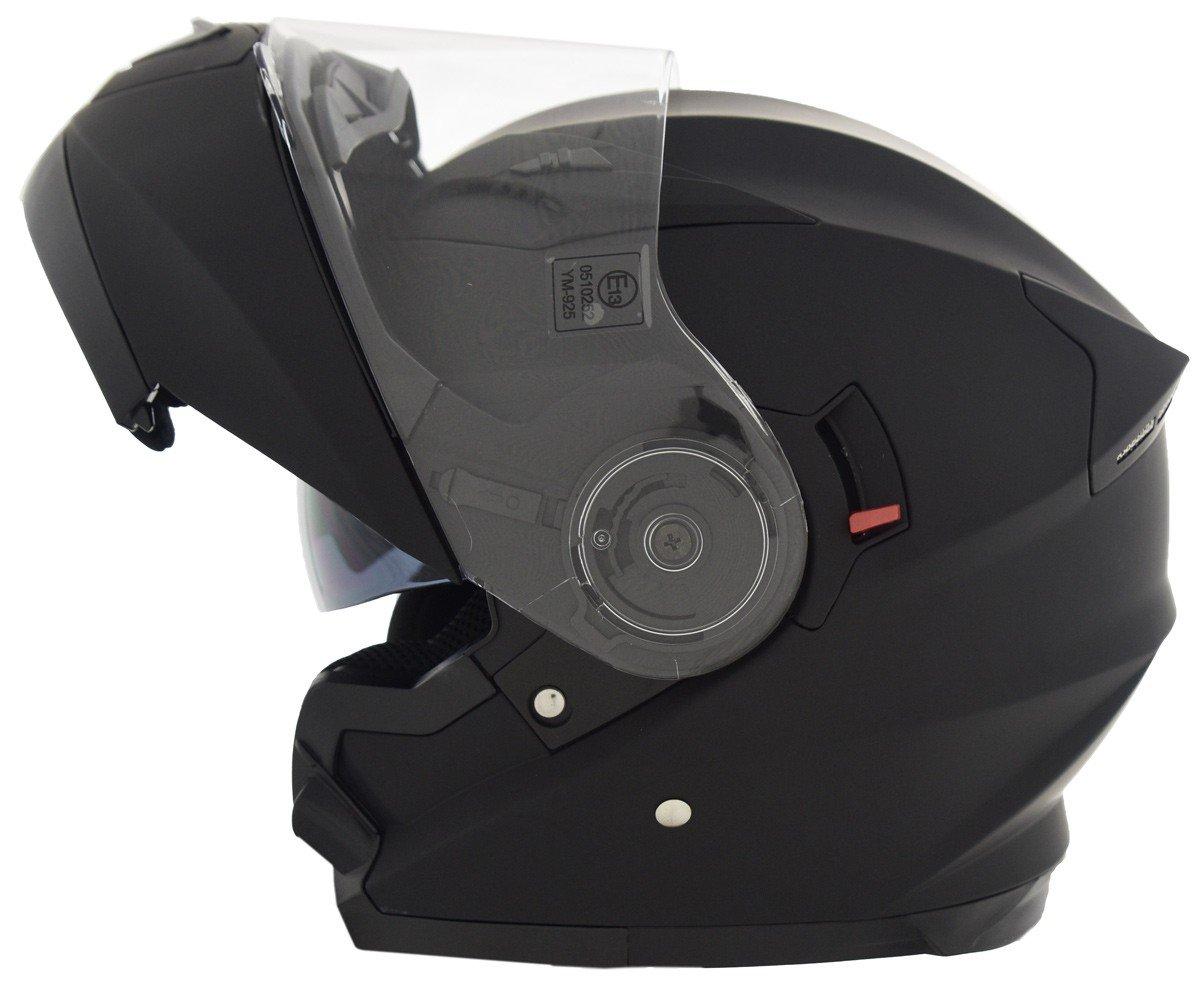 CRUIZER Casco Modulare Moto Omologato ECE-22-05, Nero Opaco, Taglia XL VR286