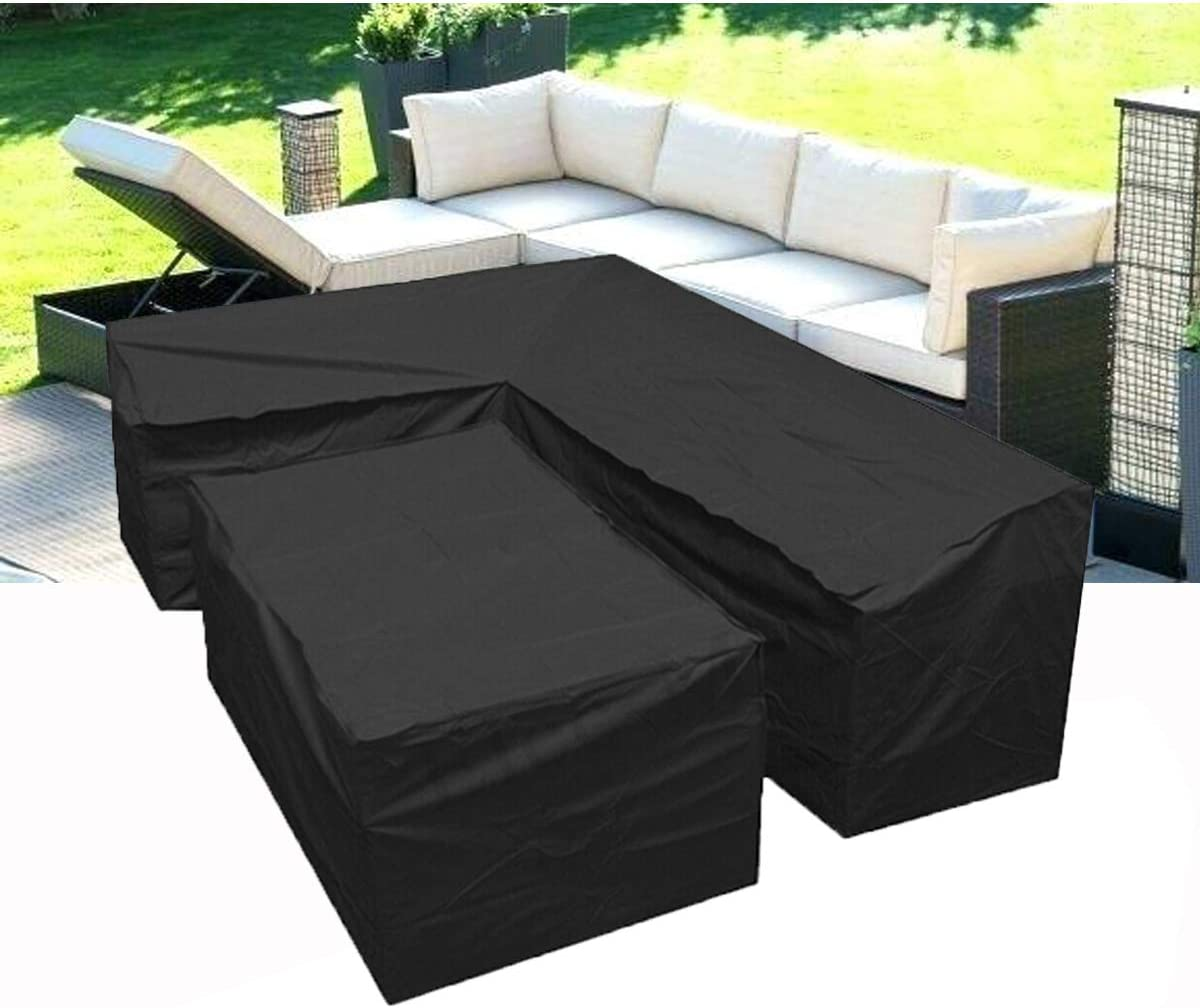 Silvotek L Shaped Outdoor Sofa Cover-l Shaped Patio Couch Covers with Durable Hem Cord,210D l Shaped Outdoor Couch coverl Shaped Outdoor sectional Sofa Cover