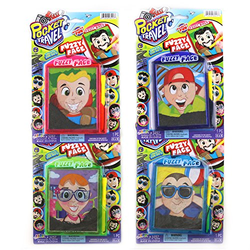 Pocket Travel Mini Magnetic Fuzzy Face Personalities For Kids On The Go Fun (4 Pack)