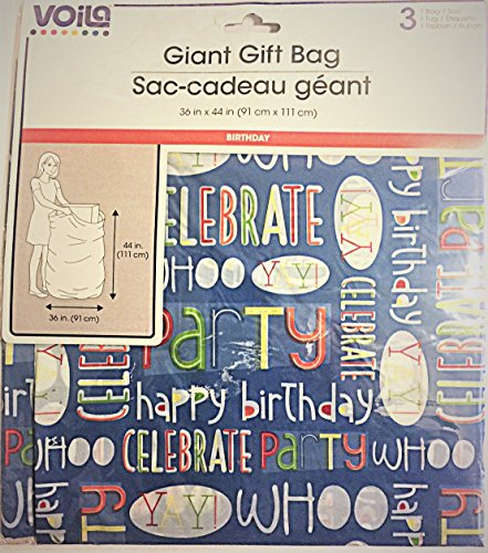 GIANT GIFT BAG 36 IN X 44 INCHES: Cheerful words such as whoo, yea, happy birth day, celebrate, ets. cover the bag.