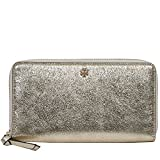 Tory Burch Crinkle Metallic Zip Continental Wallet (Spark Gold)