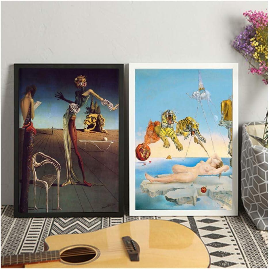 Salvadore Dali Wall Art Canvas Painting Poster Mujer con una cabeza de rosas para la decoración del hogar Carteles e impresiones Cuadros decorativos-50x70cmx2 Sin marco