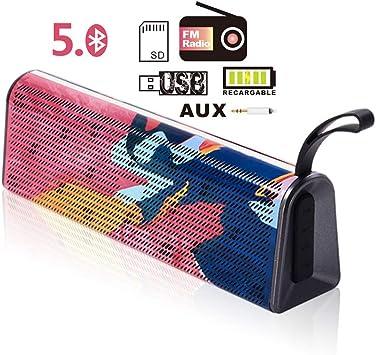 Altavoz Bluetooth 5.0 USB, Altavoz Portátil Inalámbrico, Sonido Estéreo Claro para USBFM RadioSDAUX,Construido en Micrófono, Autonomía de 24h para