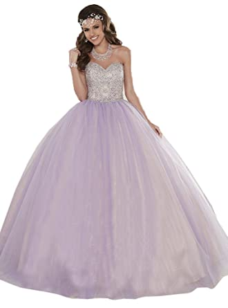 da601c3880d HSDJ Women s Sweet 16 Ball Gowns Beaded Tulle Party Quinceanera Dresses 0  US Light Purple