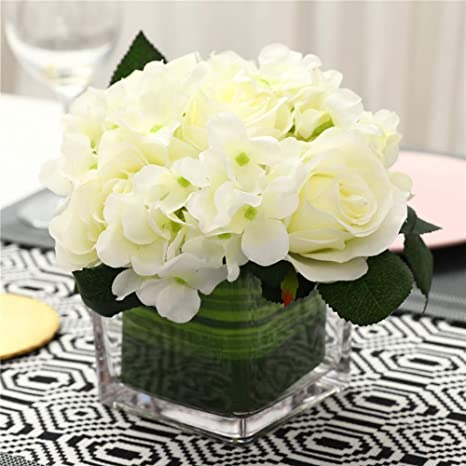 Amazon Com Fule Artificial Silk Rose Flower Centerpiece Arrangement In Vase For Home Wedding Decoration Spring White Kitchen Dining