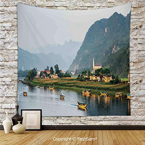 (FashSam Polyester Tapestry Wall Calm Asian Riverside Village Small Houses Mountains Trees Boats Flowing Water Hanging Printed Home Decor(W59xL78))