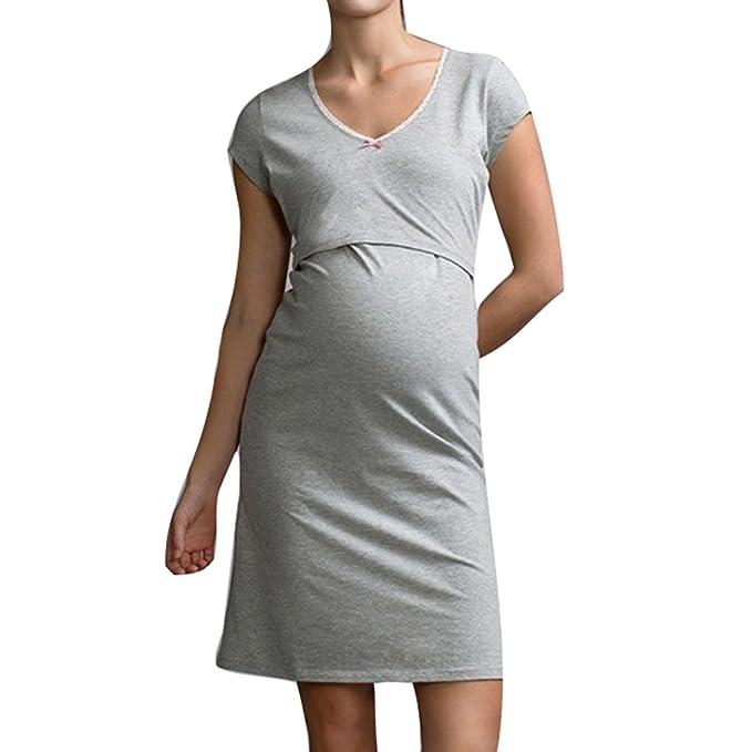 Camisones de maternidad de pijama Highdas Vestido para ropa de dormir ropa de lactancia Camisón de lactancia para mujeres embarazadas: Amazon.es: Ropa y ...