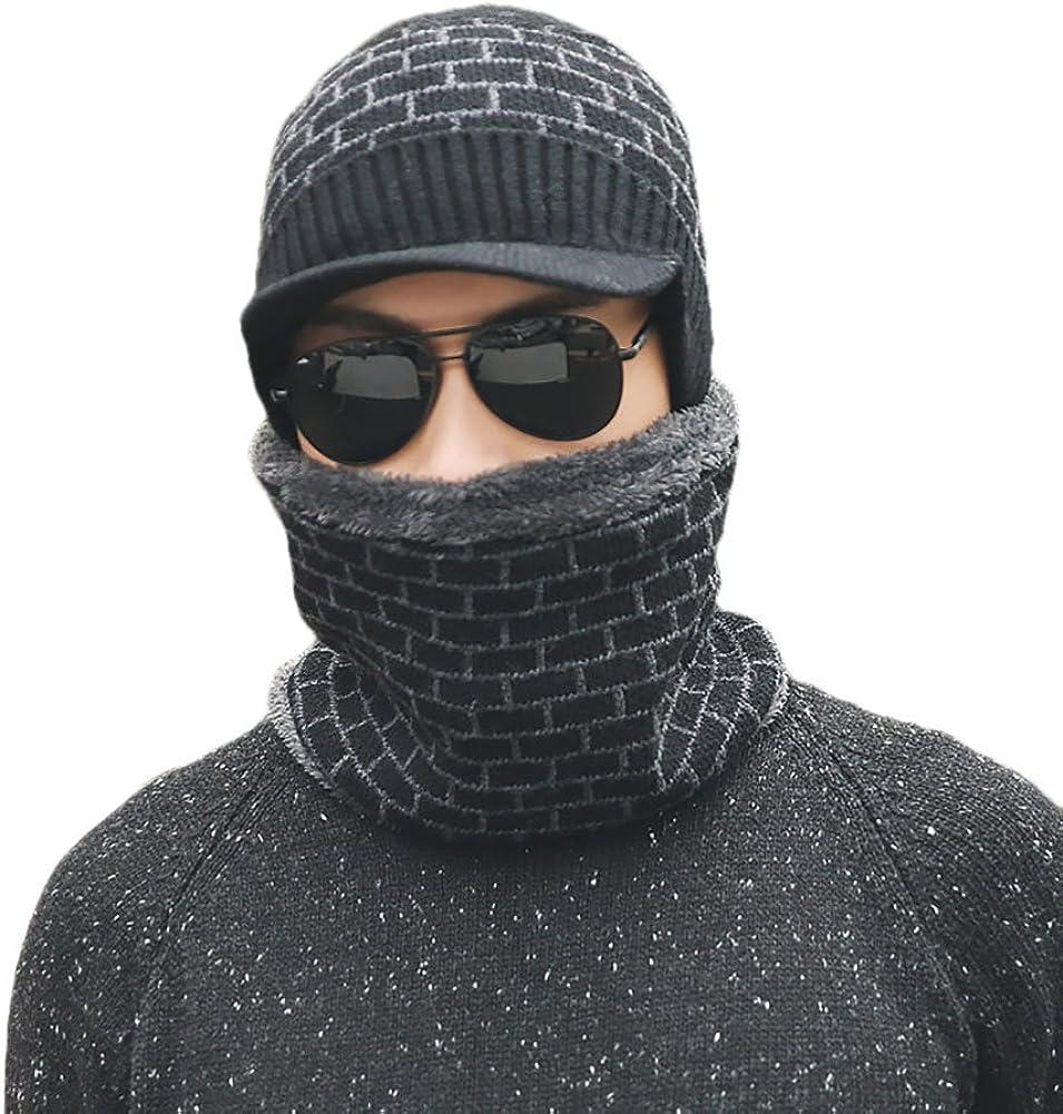 Warm Circle Scarf,Brick Pattern Winter Hat FinancePlan Mens Wool Knitted Skiing Beanie Hat