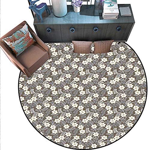 Abstract Non-Slip Round Rugs Spring Illustration with Blooming Petals Paisley Leaves on Dark Background Living Dinning Room and Bedroom Rugs (4'6