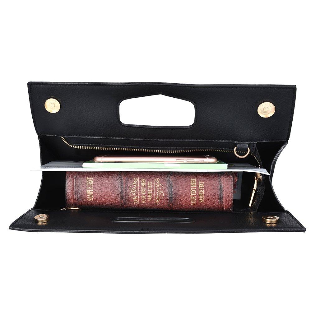 VRLEGEND Leather Top Handle Handbags Crossbody Shoulder Bag Tote Wallet Purse Evening Clutch Bag for Women (Black) by VRLEGEND (Image #4)