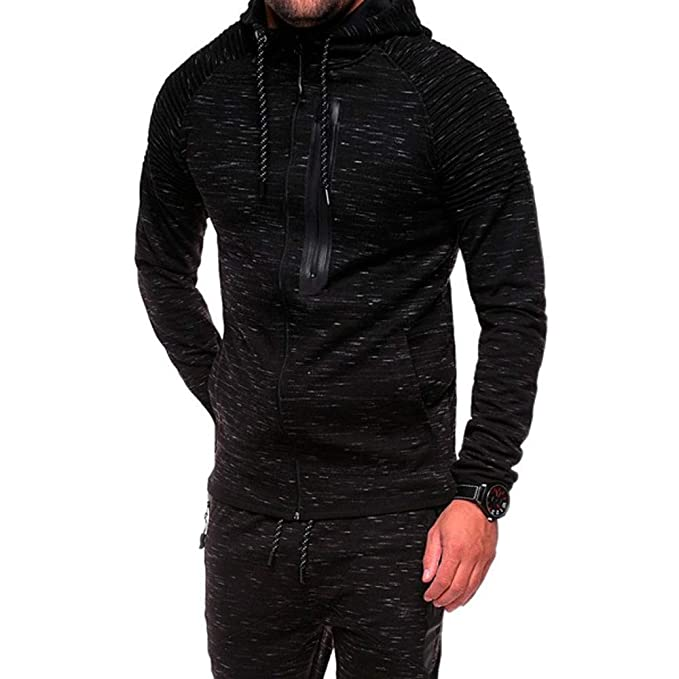 SMALLE ◕‿◕ Clearance, Tracksuit for Men, Speckled Folds Zipper Sweatshirt Top Pants Sets Sports Suit Tracksuit at Amazon Mens Clothing store: