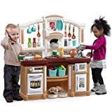 Step2 Fun with Friends Kitchen | Large Plastic Play Kitchen with Realistic Lights & Sounds | Brown Kids Kitchen Playset…