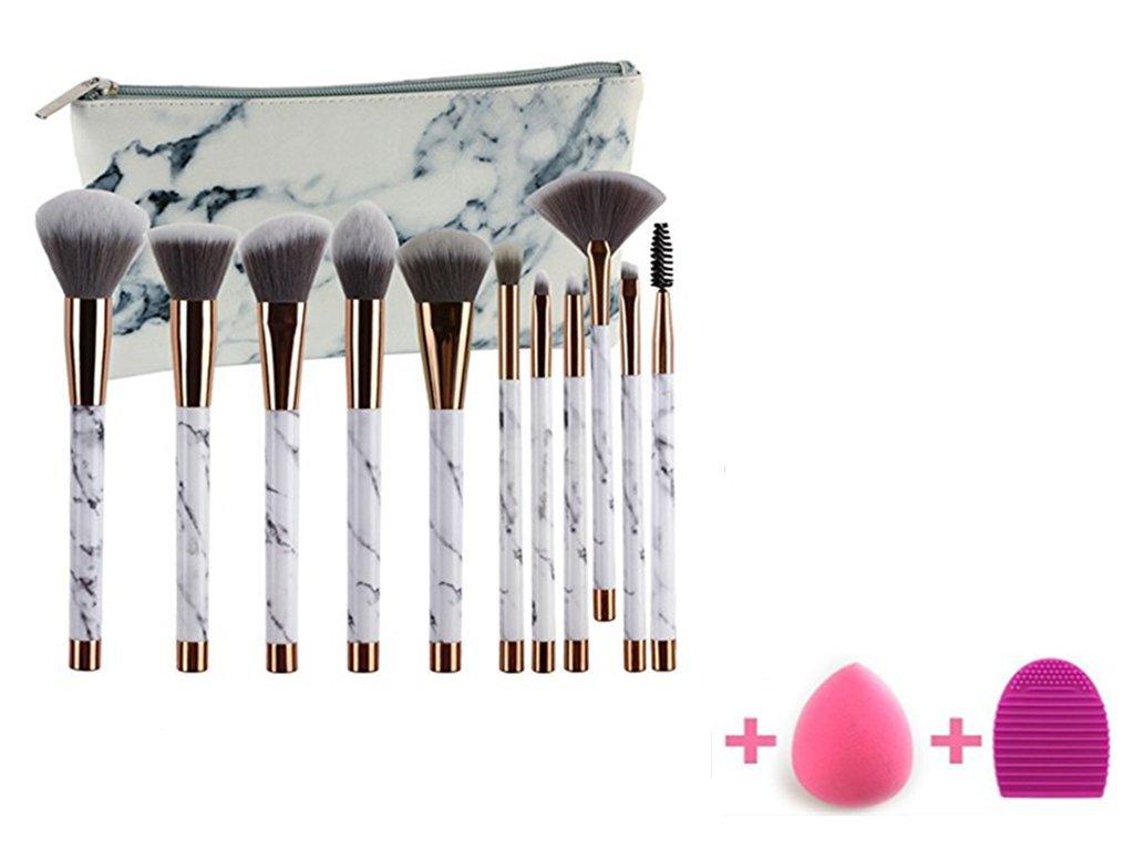 Nicedeal marmo 11pezzi Set di pennelli trucco includono fondazione cipria pennello per ombretto con PU marmo Carry Bag, spugnetta e Brush Egg (11+ pezzi) e pennelli make-up strumenti per bellezza