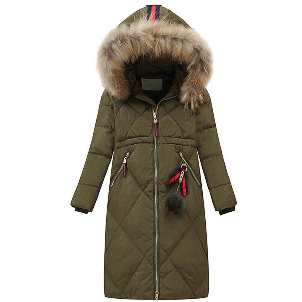 LJYH Big Girls Winter Fashion Down Outerwear Coat Puffer Jacket with Fur Hood