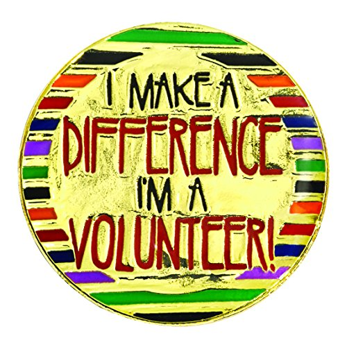 I Make A Difference I'm A Volunteer! Appreciation Award Gold Lapel Pins, 12 Pins (Award Volunteer Pins)