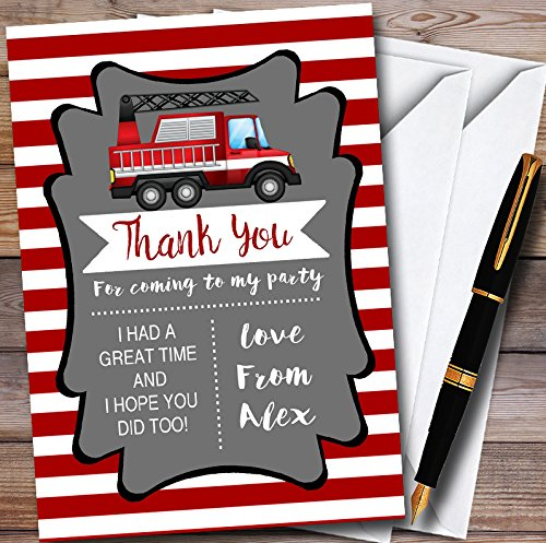 10 x Red Stripes Fireman Fire Engine Personalized Childrens Birthday Party Thank You Cards Stripes Rsvp Card