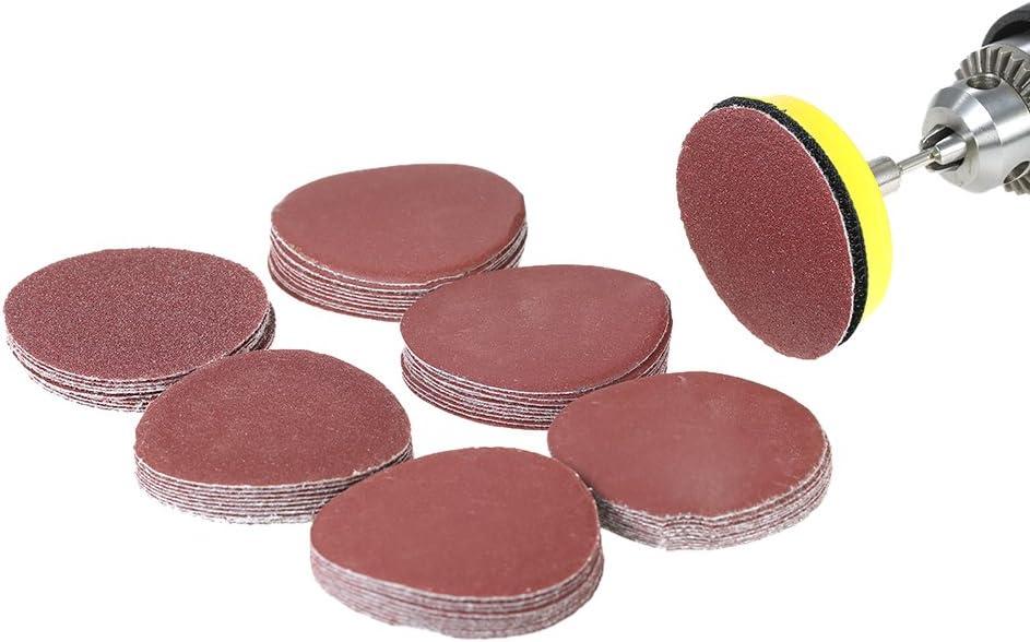 VISLONE Disco de Lija de 50 mm, papel de lija 60 PCs (100-2000grits) Kit de Almohadillas para Discos de Lija para Pulir Piedra Artificial, Muebles y Productos de Madera, Metal, Automóvil.