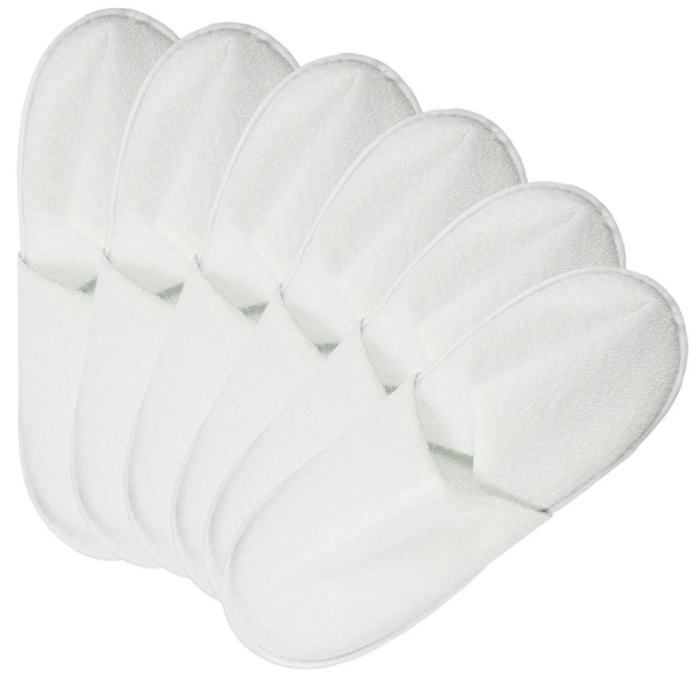 Pantoufles ferm/ées en Blanc 06 Paires Blanches - 38//39 com-four/® Ensemble de 12 Pantoufles en /éponge Taille 38//39