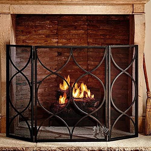 3つのパネルの折る暖炉スクリーンの暖炉のドア、屋内黒い家のための大きい黒い古典的な防火幕の火花の監視ゲート