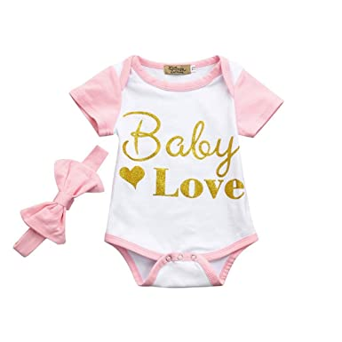 bc54a57483ca2 Longra 2018 Printemps Été Bodys Bébé Fille Lettre Imprimé Manche Courte  Combinaison Bébé Fille+Noeud Papillon Bandeau Bébé Mode Habits Bébé Pyjama  Bébé ...