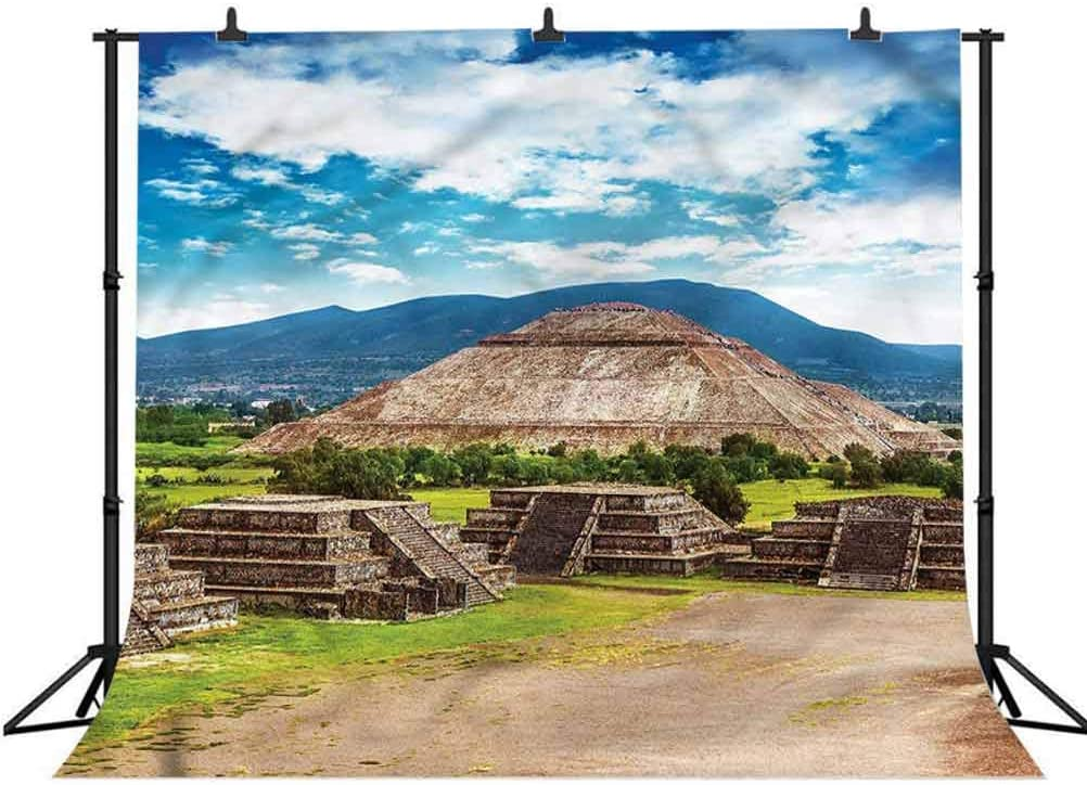 8x8FT Vinyl Photography Backdrop,Mesoamerican,Pyramids Sun and Moon Background for Selfie Birthday Party Pictures Photo Booth Shoot