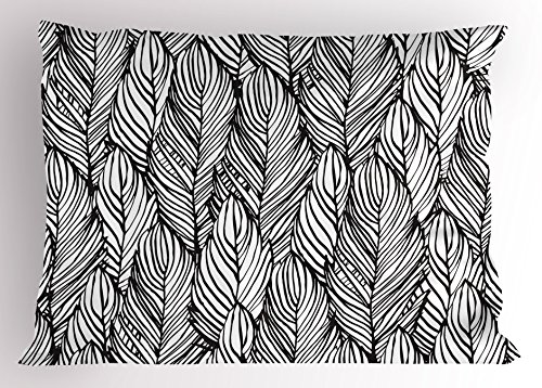Ambesonne Feather Pillow Sham, Hand Drawn Outline Style Quills Monochrome Bird Feathers Abstract Pattern, Decorative Standard King Size Printed Pillowcase, 36