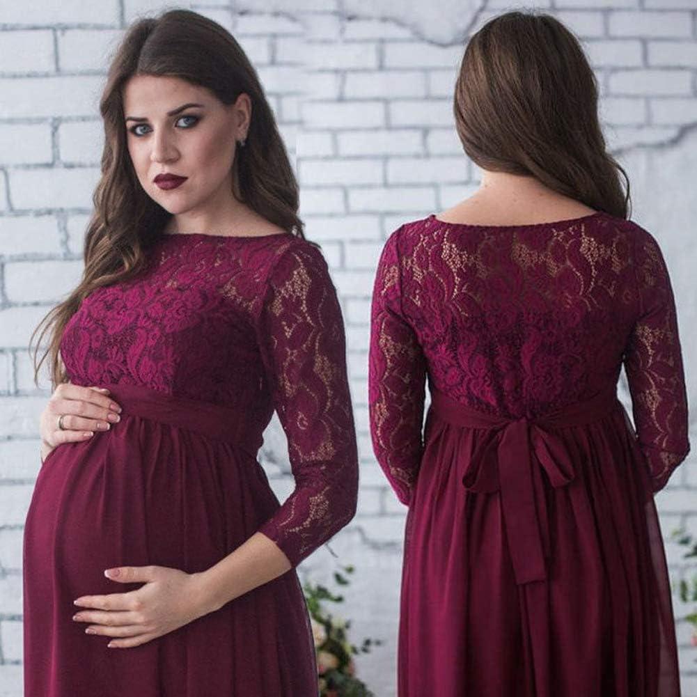 Loalirando Elegant Damen Umstandsmode Kleid Maxi Spitzenkleid ...