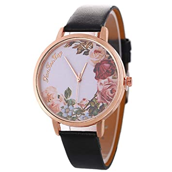 fenkoo Vintage Relojes para mujeres, Mujeres de flores, Mujeres Relojes Retro, Vintage Mujer Relojes, regalos para usted, regalo de cumpleaños negro: ...