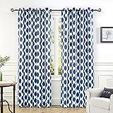 Cheap DriftAway Allen Ikat Polka Dot Room Darkening/Thermal Insulated Grommet Unlined Window Curtains, Set of Two Panels (Navy, 52″x84″)