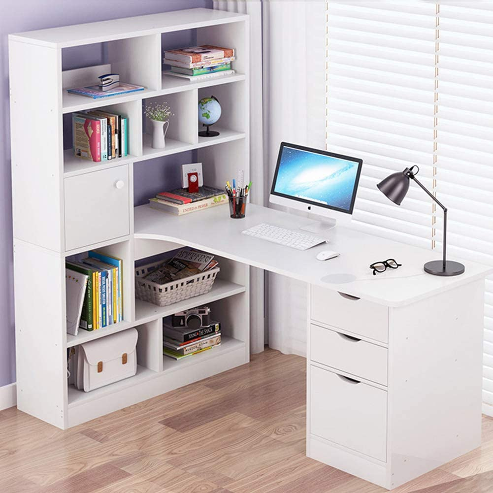 ALIPC Wooden Corner Desk with Storage Rack,Desk Bookcase Combination Computer Desk Simple Modern Student Writing Desk for Bedroom Table Home-x 120x78x145cm(47x31x57inch)