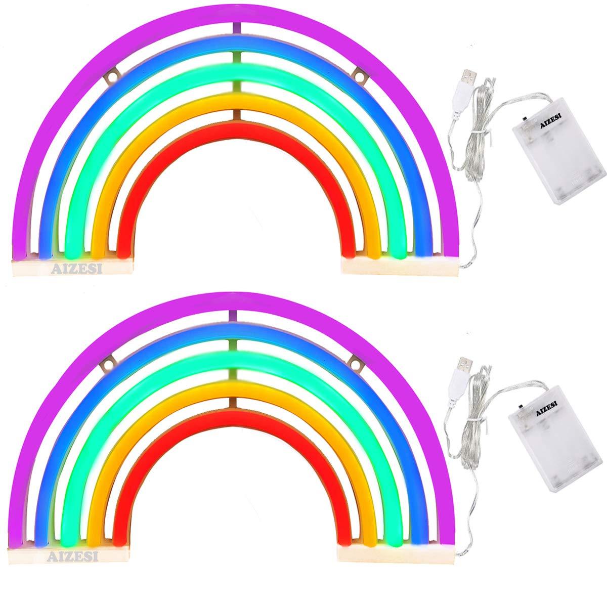 AIZESI 2PCS Rainbow Lights,Rainbow Neon Lamps,Rainbow Room Decor,Night Light Battery Operated (Rainbow)