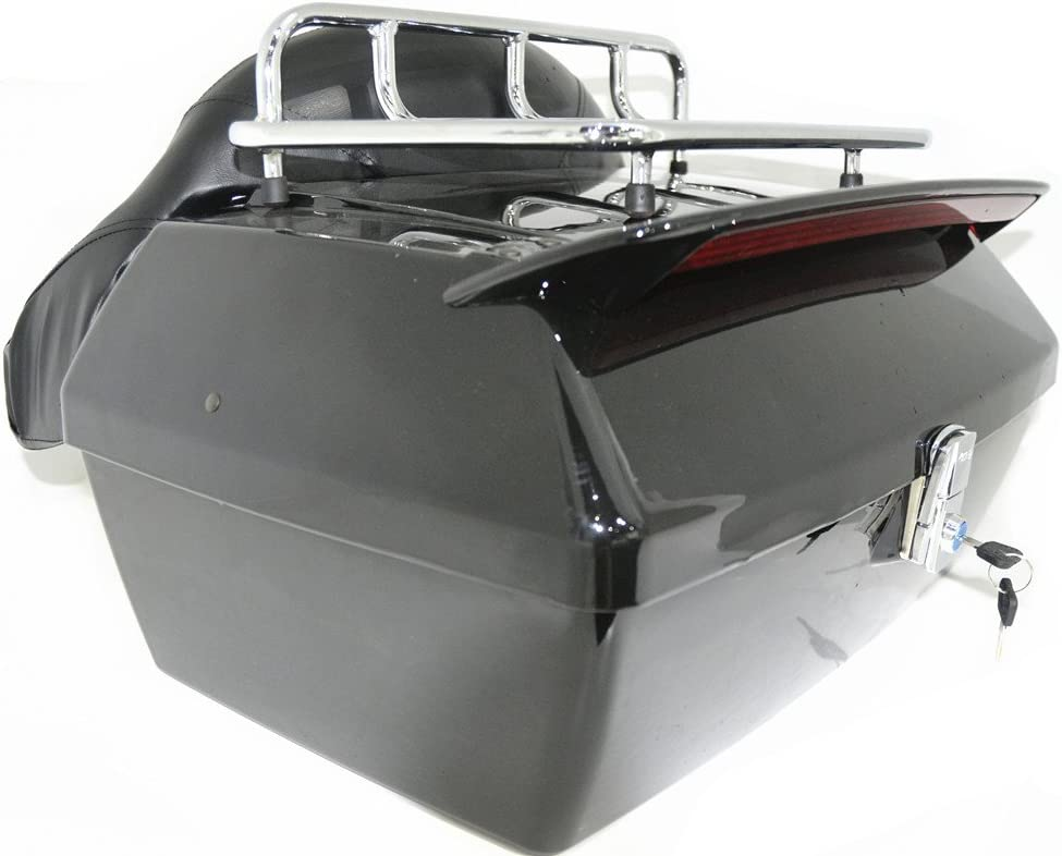 EGO BIKE Black Motorcycle Trunk Tail Box Luggage Universal w//Top Rack/&Backrest/&TailLight