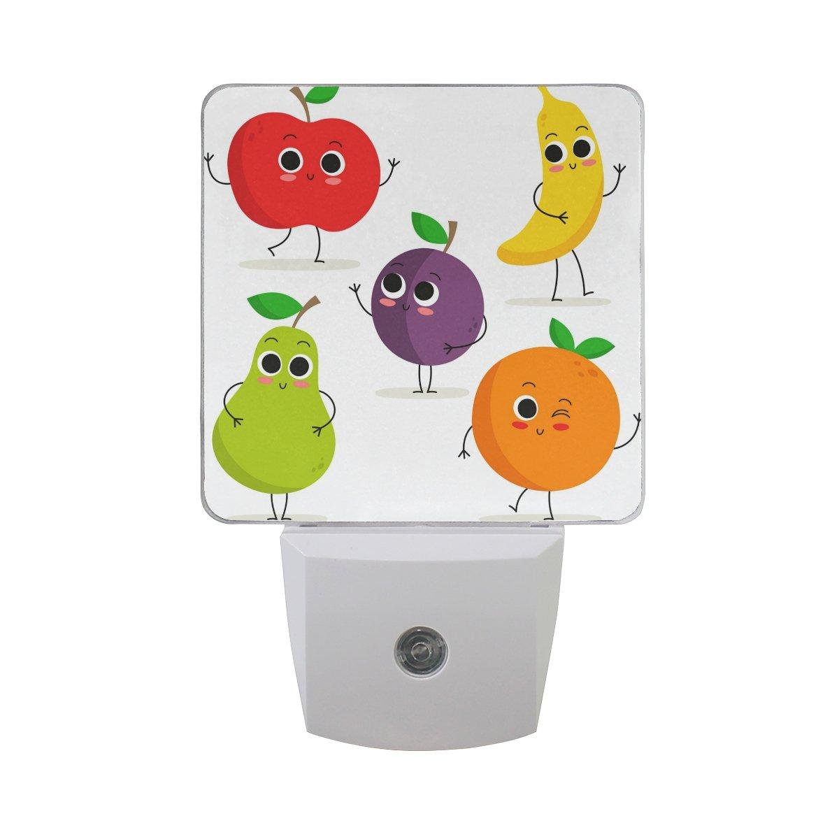 プラグインLED夜ライトランプCute Cartoon Fruit文字印刷with Dusk to Dawnセンサーのベッドルーム、バスルーム、廊下、階段、2 pack-0.5 W B07CVB1WDP