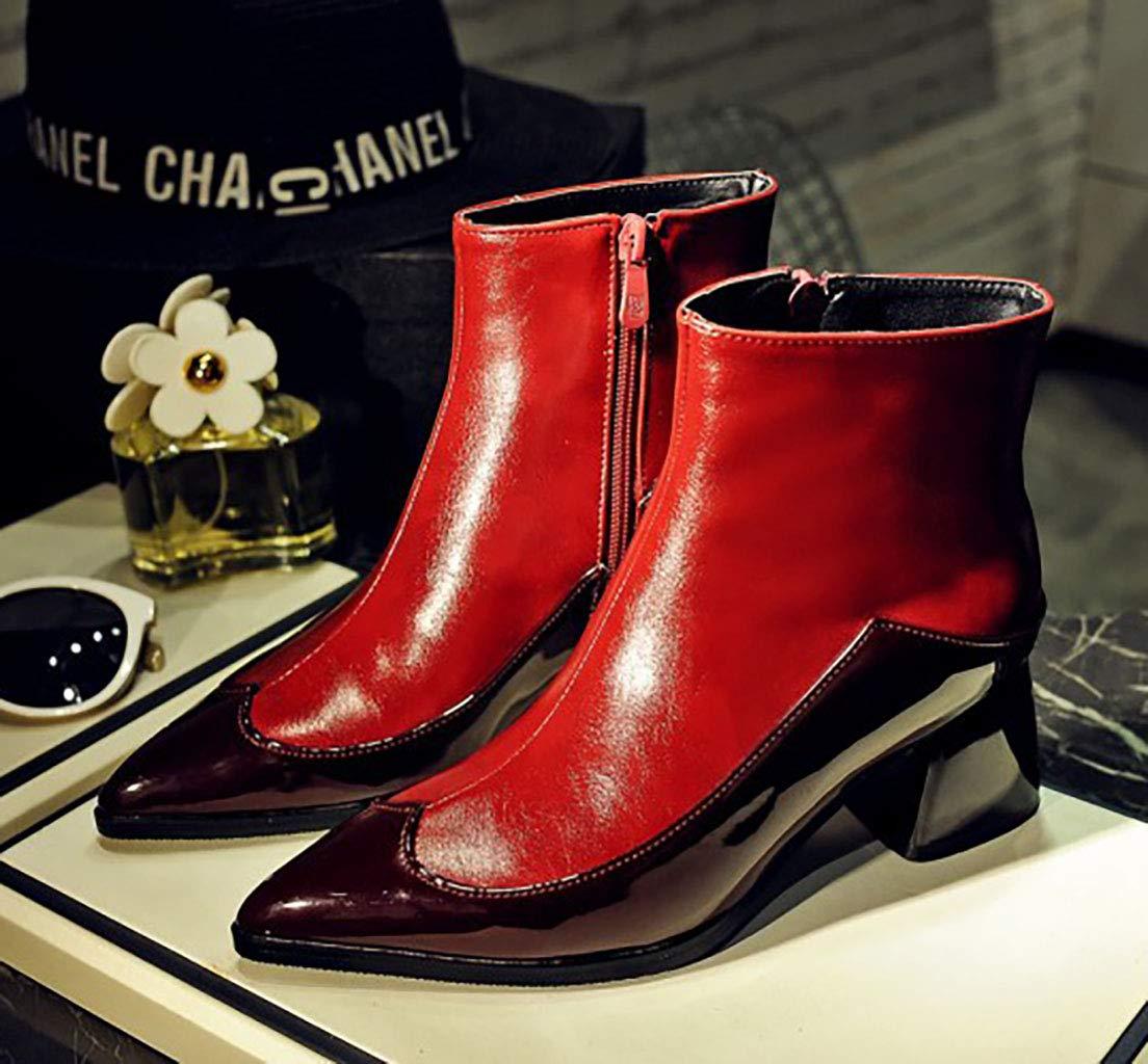 Frauen Martin Stiefel künstliche PU wies Kurze Stiefel mit hohem hohem hohem Absatz seitlichen Reißverschluss Stiefeletten im britischen Stil Herbst und Winter, rot,46EU 7f9fe8