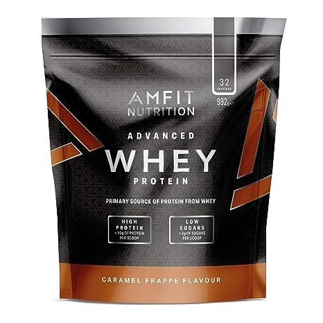 Marca Amazon - Amfit Nutrition Proteína Whey de suero de leche sabor licuado de caramelo, 32 porciones, 990 g
