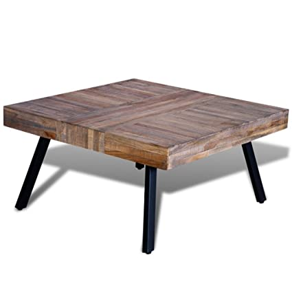 Festnight Solid Square Coffee Side Table Reclaimed Teak Wood End Table Home  Office Living Room Furniture