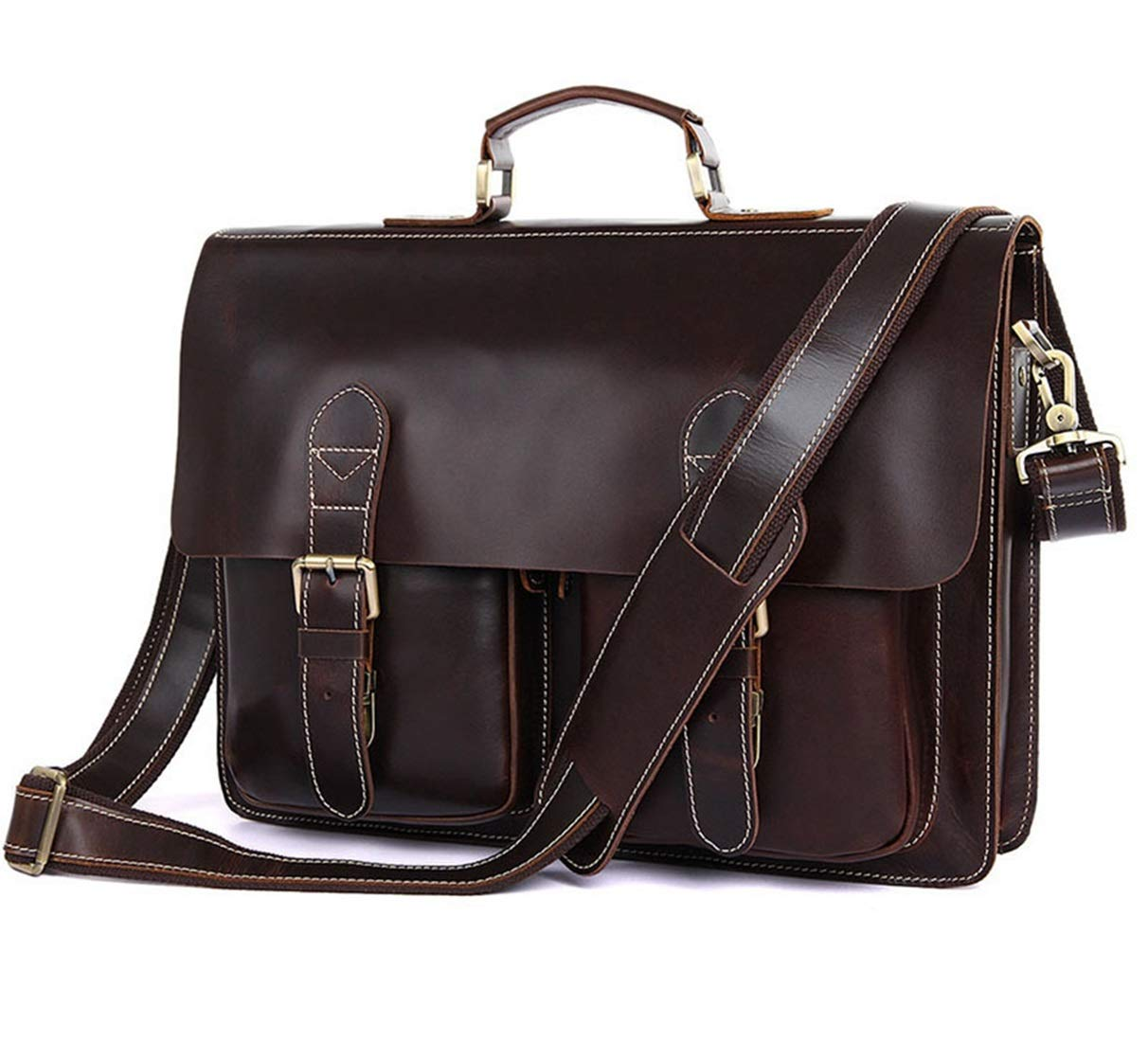 MATCHANT Retro Leather Mens Computer Bag 15 Leather Mens Shoulder Bag Simple Atmosphere Thick Leather Briefcase Color : Chocolate Color