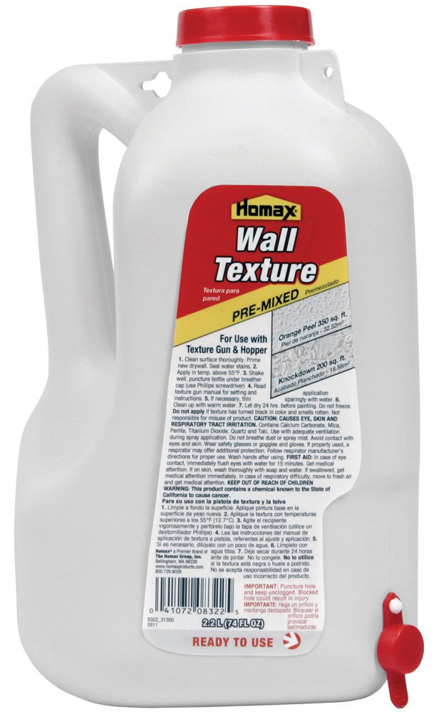 Homax Group Group Group 8322 Pre Mixed Wall Texture with Orange Peel and Splatter Texture, 2.2-Liter by Homax Group Inc 585647