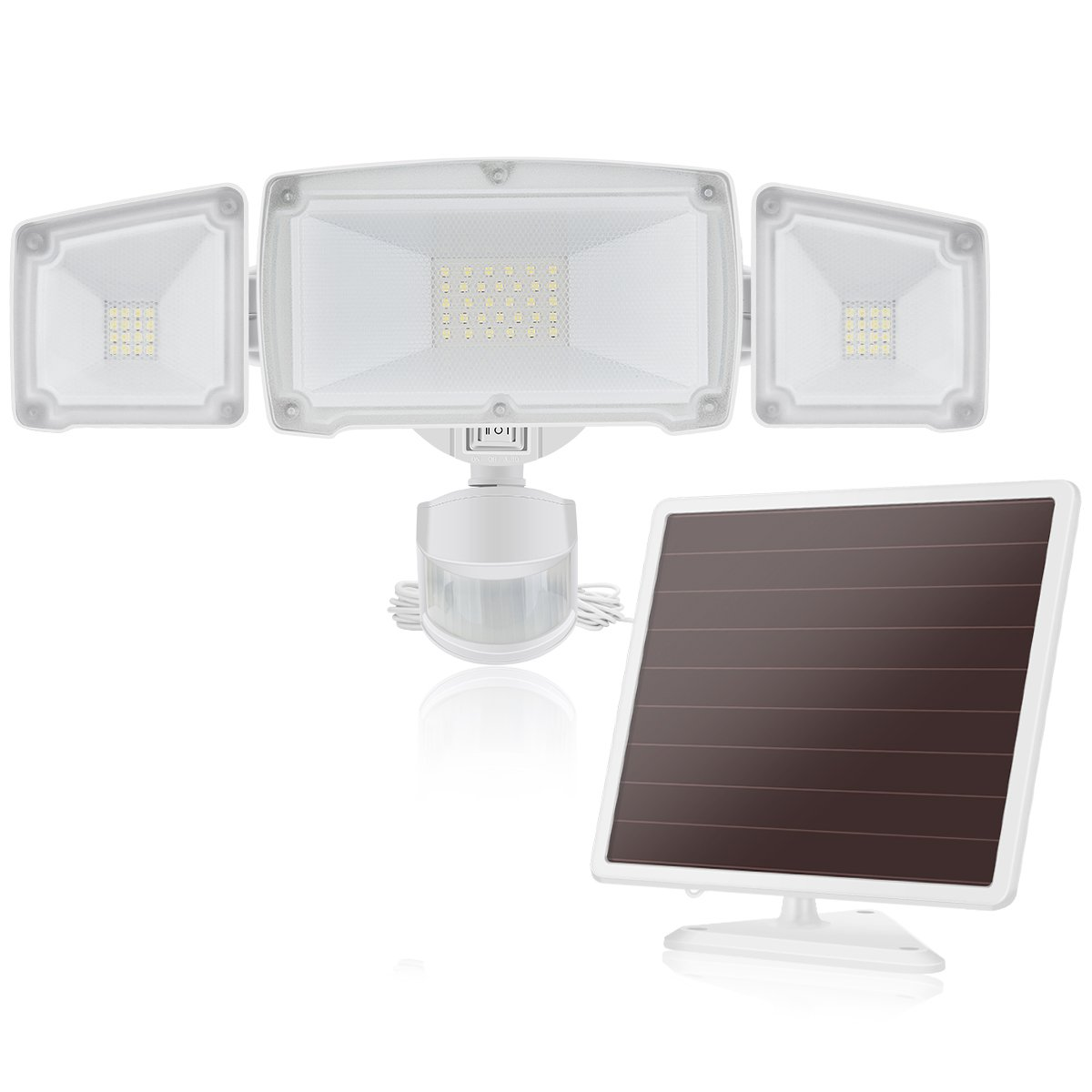 Solar LED Security Light, SOLLA Outdoor Motion Sensor Flood Light, 1500LM 5000K, IP65 Waterproof, 3 Adjustable Heads Light with 2 Modes Automatic and Permanent on, for Entryways, Patio, Yard, Garage