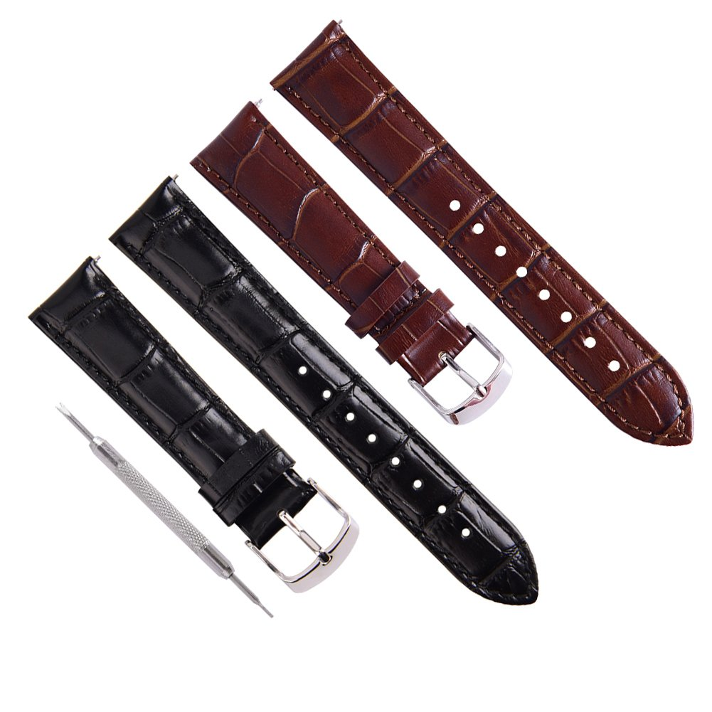 Ritche 20mm Black Brown Quick Release Genuine Leather Watch Bands Replacement Watch Strap for Men Women