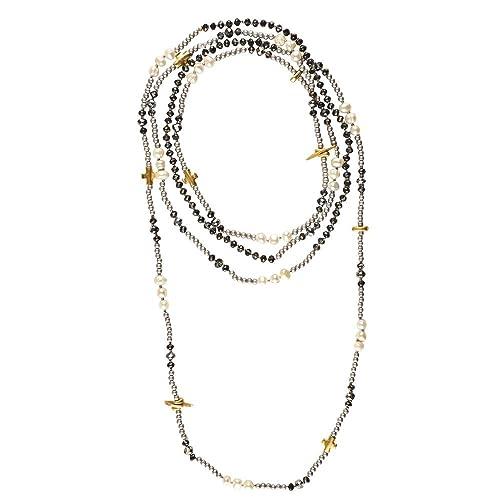 647087b7112f LuckyLy – Collares de Mujer Largos Estilo Wrap - Collar Mujer Perlas Alice  Multi-Vueltas