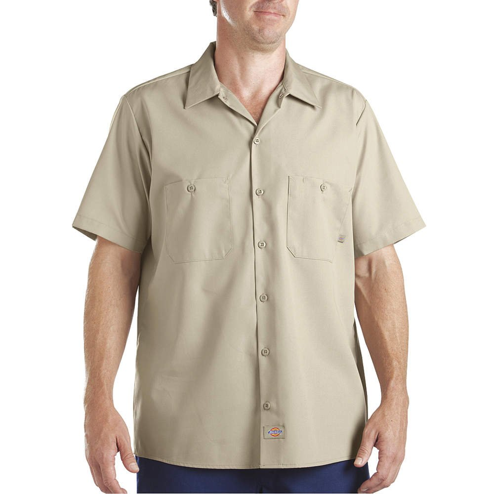 2X-Large Dickies Occupational Workwear LS535DS 2XL Polyester//Cotton Mens Short Sleeve Industrial Work Shirt Desert Sand