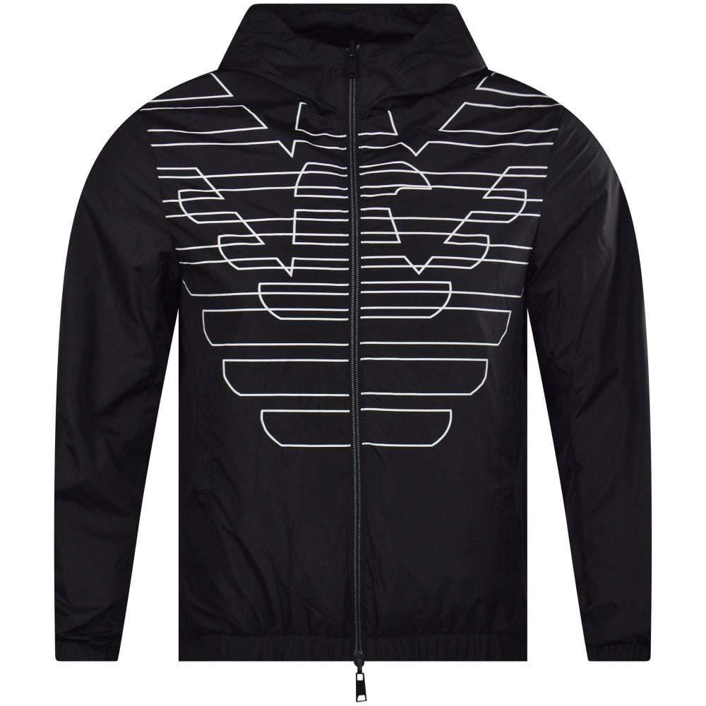 Emporio Armani Nylon Light Reversible Black Jacket S Black
