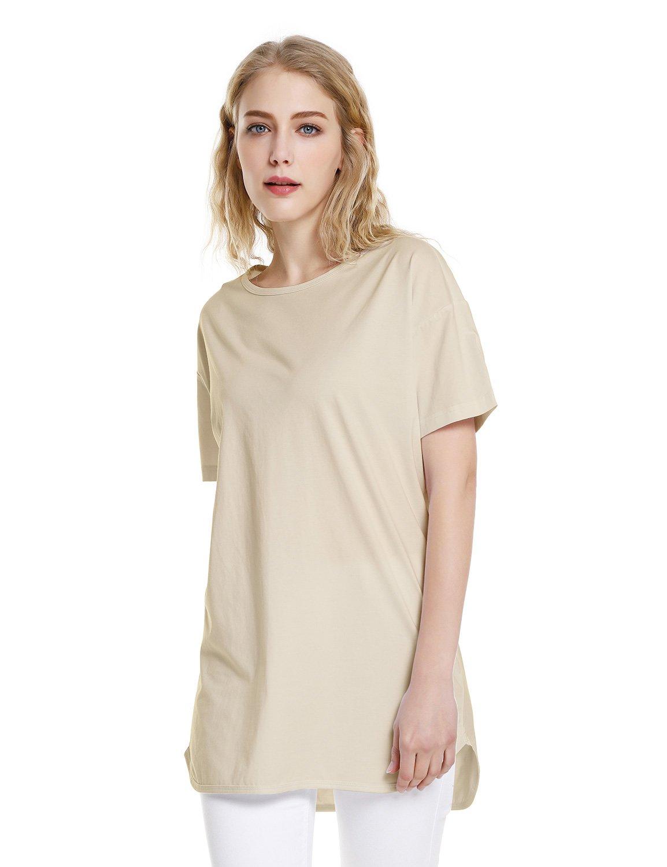 ZAN.STYLE Women's Plus Size Slub Cotton Tunic Tee Shirt Long T Shirt for Leggings X-Large Style 2-Light Khaki by ZAN.STYLE (Image #1)