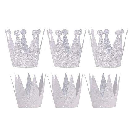 ANGTUO - Conjunto de 6 coronas para cumpleaños para niños y niñas, plateado