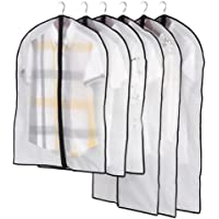 Bullidea Transparent Protective Clothes Bags of Garment Suit Clothes Covers Bags with Full Zipper Waterproof Storage,60 * 100cm Black Pack of 5